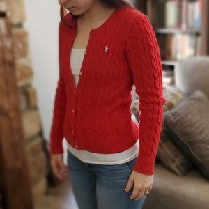 Red cable knit Ralph Lauren polo sweater cardigan